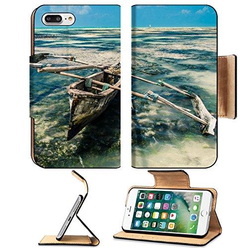 Zanzibar Leather (Luxlady Premium Apple iPhone 7 Plus Flip Pu Leather Wallet Case iPhone7 Plus 22142418 boat in the low tide in Zanzibar)