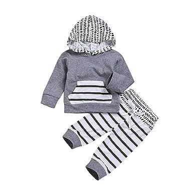 fdb12f0dac842 HEHEM Baby Clothes Newborn Infant Set Newborn Long Sleeve Tops Newborn Baby  Boys Long Sleeves Hooded Stripe Tops+Pants Outfits Clothes Sets:  Amazon.co.uk: ...
