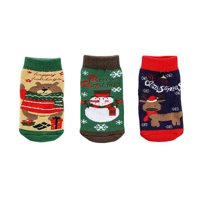 3 Pares Calcetines Algodon Estampados,Calcetines de Navidad Bebe Niña Sin Costuras,Calcetines Termicos,Calcetines de Navidad Regalos 0-3 Años: Amazon.es: ...