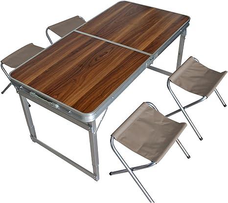 Spetebo Aluminio Camping Set Plegable – 4 x Silla + Mesa Madera ...