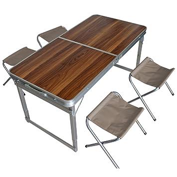 Spetebo Aluminio Camping Set Plegable - 4 x Silla + Mesa ...