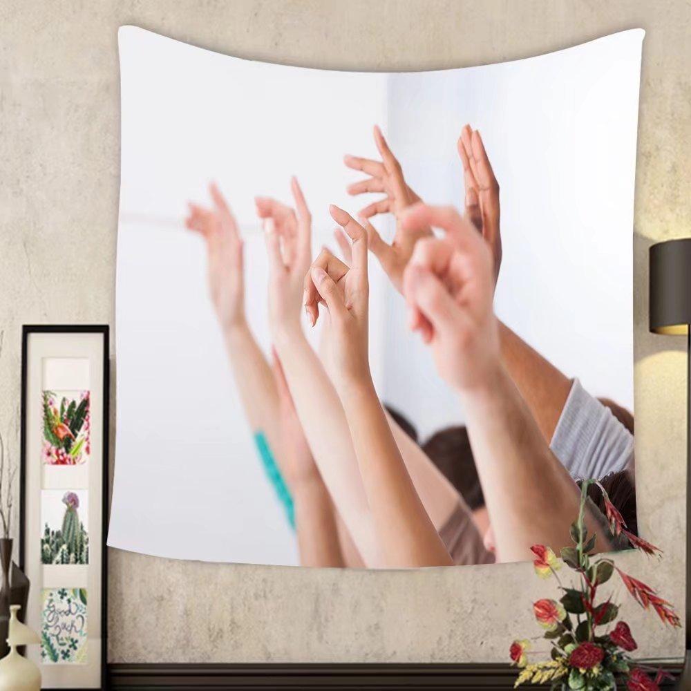 Lee S. Jones Custom tapestry row of multiethnic college students raising hands in classroom