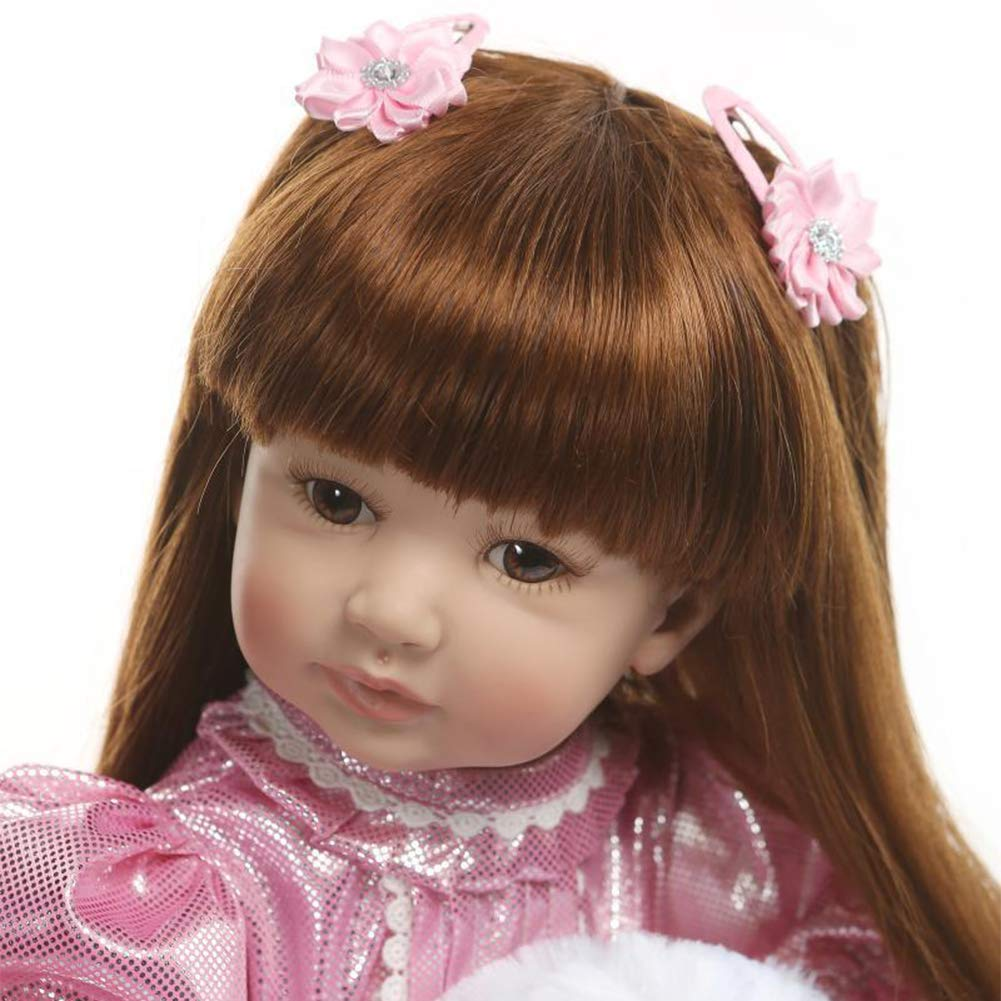 High-Grade Acrylic Eyes Reborn Baby Dolls 24 Inch 60 cm Real Looking Baby Silicone Limbs and Head Soft Cloth Weighted Body Eyes Open Realistic Girl with Beautiful Princess Dress