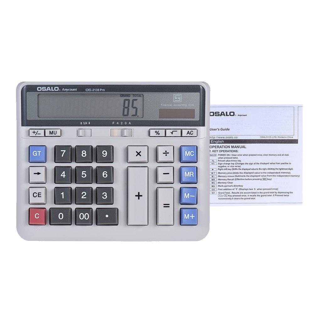aibecy Gro/ßer Computer Elektronische Taschenrechner Z/ähler Solar /& Batterie Power 12-stelligem Display Multifunktions-Big Button f/ür Business B/üro Schule Berechnung