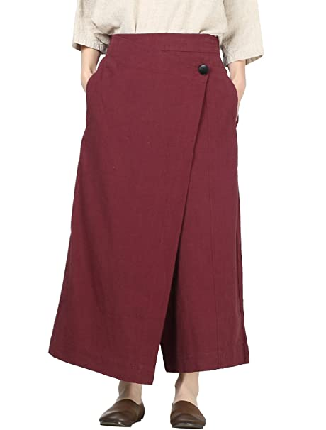 3a1e4d5b51 Mordenmiss Women's Drop Crotch Pants Linen Harem Drape Capri Culottes  (Style ...