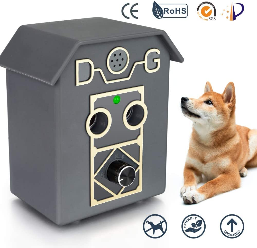Kaiercat Outdoor Bark Control Device, Anti Barking Device, Ultrasonic Stop Dog Bark Deterrents with Adjustable Ultrasonic Level Control Sonic Bark Deterrents Up to 50 Ft. Range Safe for Dogs