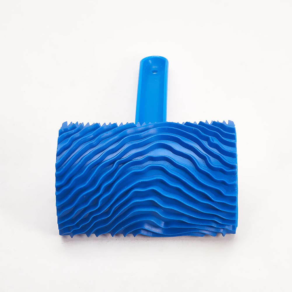 Utoolmart Wood Grain Tool For Housework Handle Empaistic Rubber Graining Pattern Stamp For Wall Painting Decoration DIY Rubber Blue 1 Set