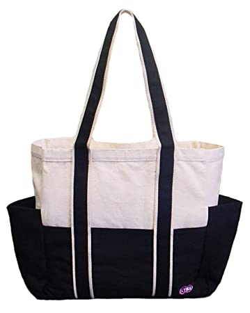 Amazon.com: 100% Cotton Canvas Shoulder Tote w/ Multiple Pockets ...