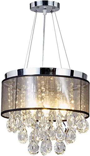New Legend Lighting Chrome Finish Translucent Black Shade 5-Light Crystal Chandelier Pendant Hanging Ceiling Lamp