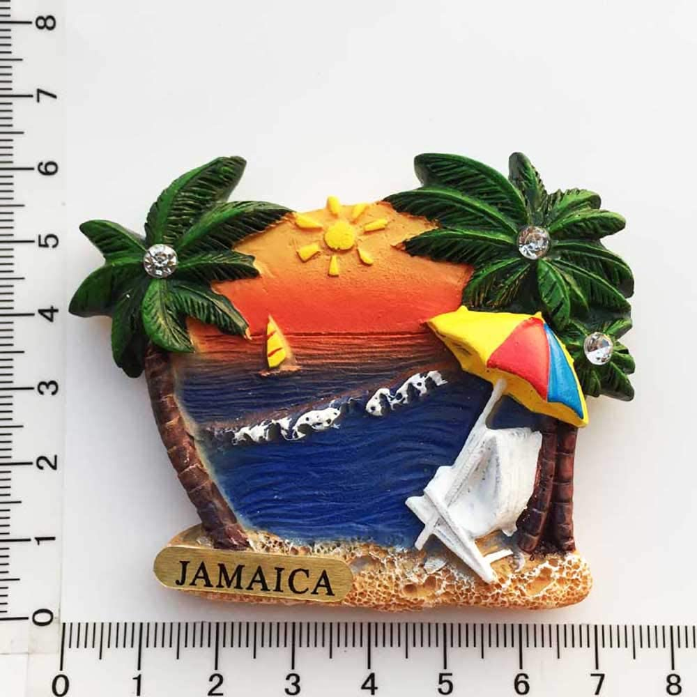 Jamaica 3D Seaside Refrigerator Magnet Souvenirs Handmade Resin Magnetic Stickers Home Kitchen Decoration,Jamaica Fridge Magnet Collection Gift