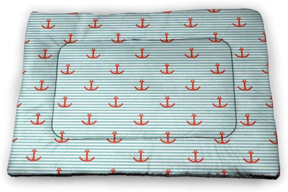 Nomorer Pet Mat Bed Anchor Machine Washable Pet Bed Liner Marine Symbol Design Rudder Rope Anchor Chain Navy Striped Backdrop Merchant Beige Indigo Red