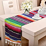 Hokic 14 x 84 inch Mexican Serape Table Runner for Mexican Fiesta Wedding Party Decorations, Mexican Fringe Cotton Table Runner