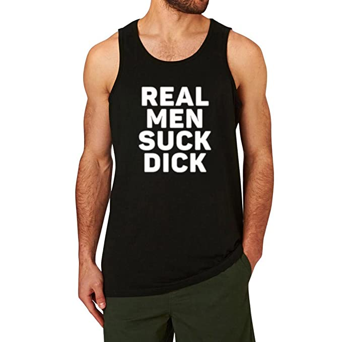 c041dcd2140 Amazon.com  Mens Real Men Suck Dick Gym Fitness Workout Casual Tank Tops   Clothing