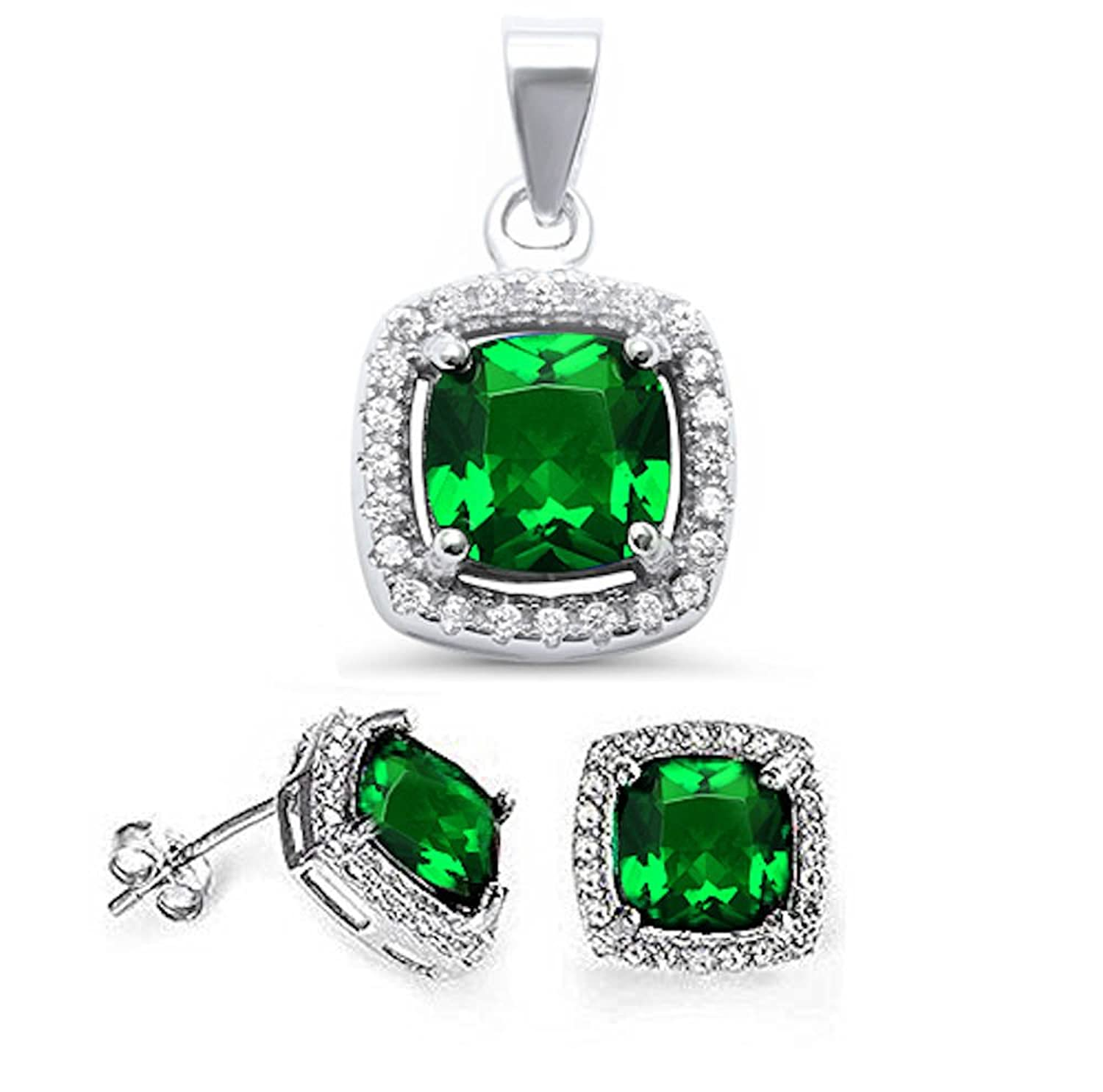 .925 Sterling Silver 3.50ct Cushion Cut Simulated Emerald & Cz Earring & Pendant Jewelry Set