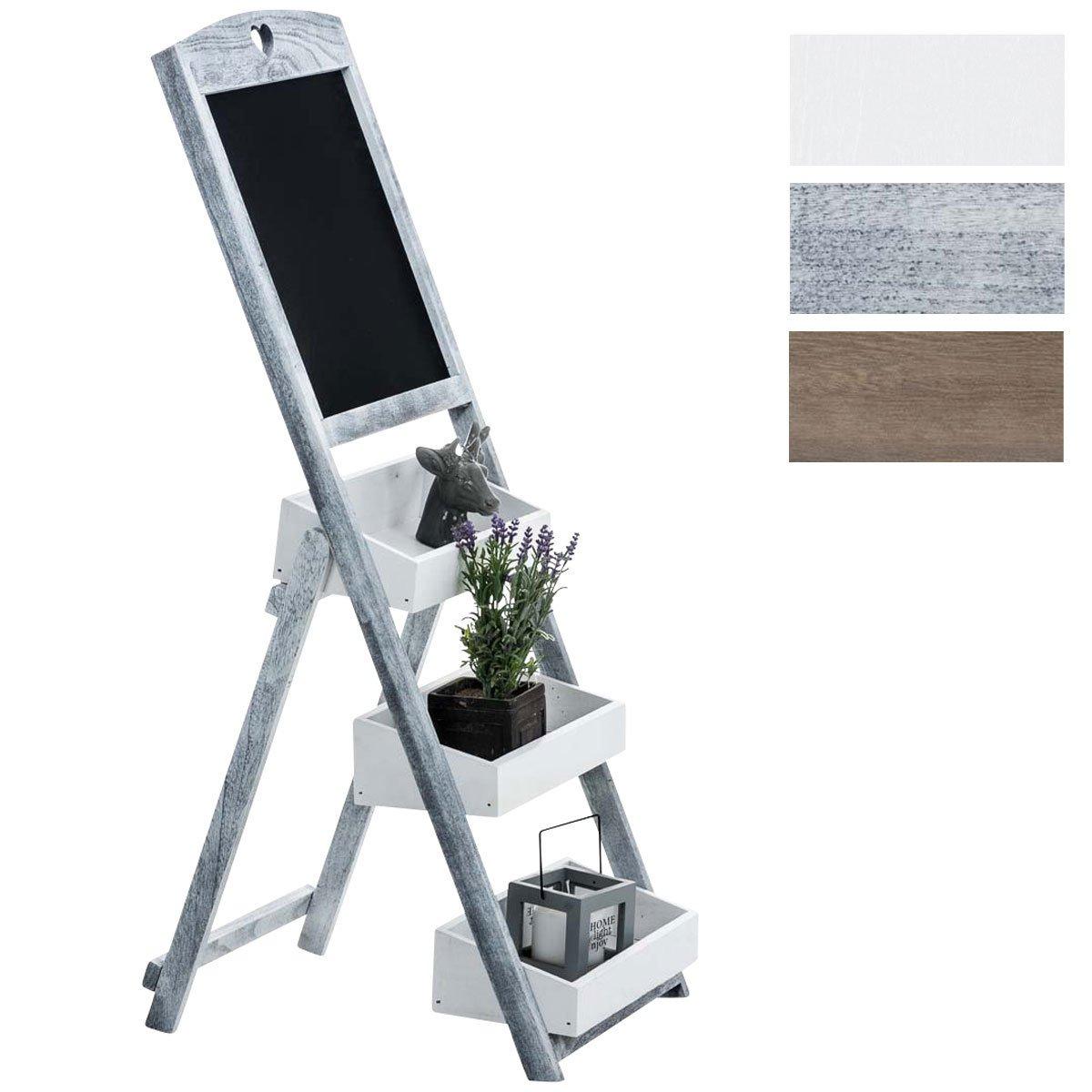 CLP ladder shelf HARALD with board, flower rack, 3 shelf boxes, foldable dark brown