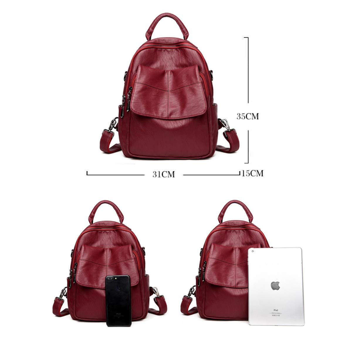Generous and Simple. PU Leather Five Colors Color : Red, Size : 31cm35cm15cm Haoyushangmao Girls Multi-Purpose Backpack for Daily Travel//Outdoor//Travel//School//Work//Fashion//Leisure