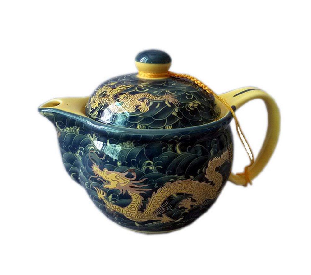 Golden Dragon théière en porcelaine, cadeau de la Chine Bouilloire pour ami Blancho Bedding