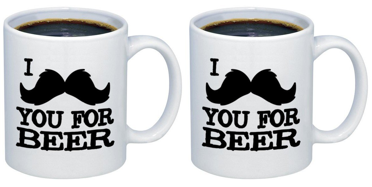 P & B I Mustage You For Beerセラミックコーヒーマグカップm283 11oz. (set of 2) ホワイト B077DV1C3S   11oz. (set of 2)
