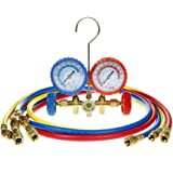 "Flexzion Ac Refrigerant Manifold Gauges HVAC Air Conditioning Charging Service Set PSI Kit for R22 R410a R404a with 3 Color-coded 60"" Hoses in Red Blue Yellow"