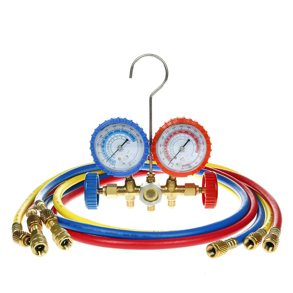 Flexzion Ac Refrigerant Manifold Gauges HVAC Air Conditioning Charging Service Set PSI Kit for R22 R410a R404a with 3 Color-coded 60'' Hoses in Red Blue Yellow