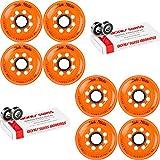 Labeda Inline Roller Hockey Skate Wheels Addiction Orange 76mm 8 Set Bones Swiss
