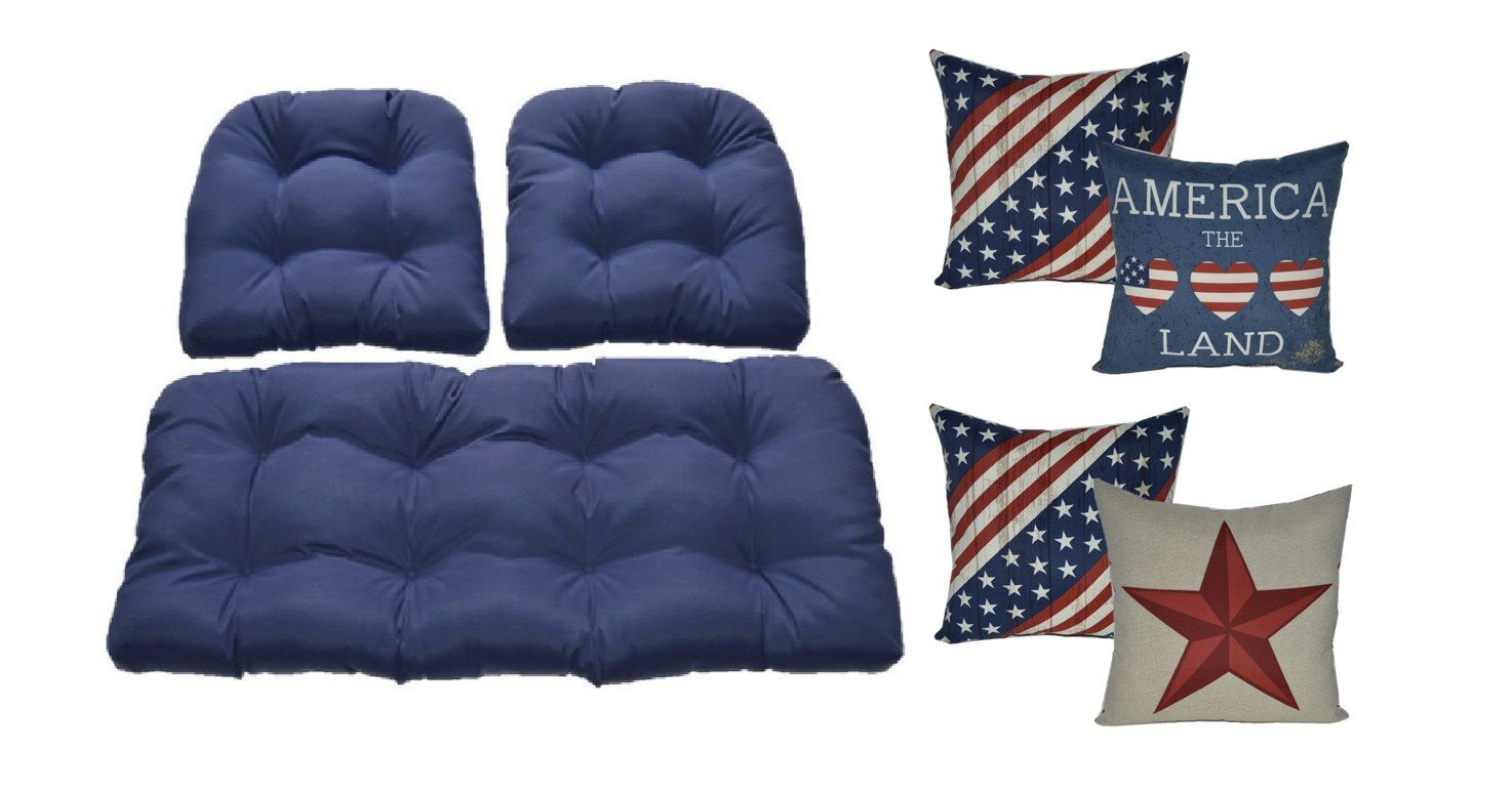 Wicker Cushions and Pillows 7 Pc Set - Solid Navy Blue Cushions and Red, White, Blue, and Tan America Pillows - Indoor / Outdoor Fabric