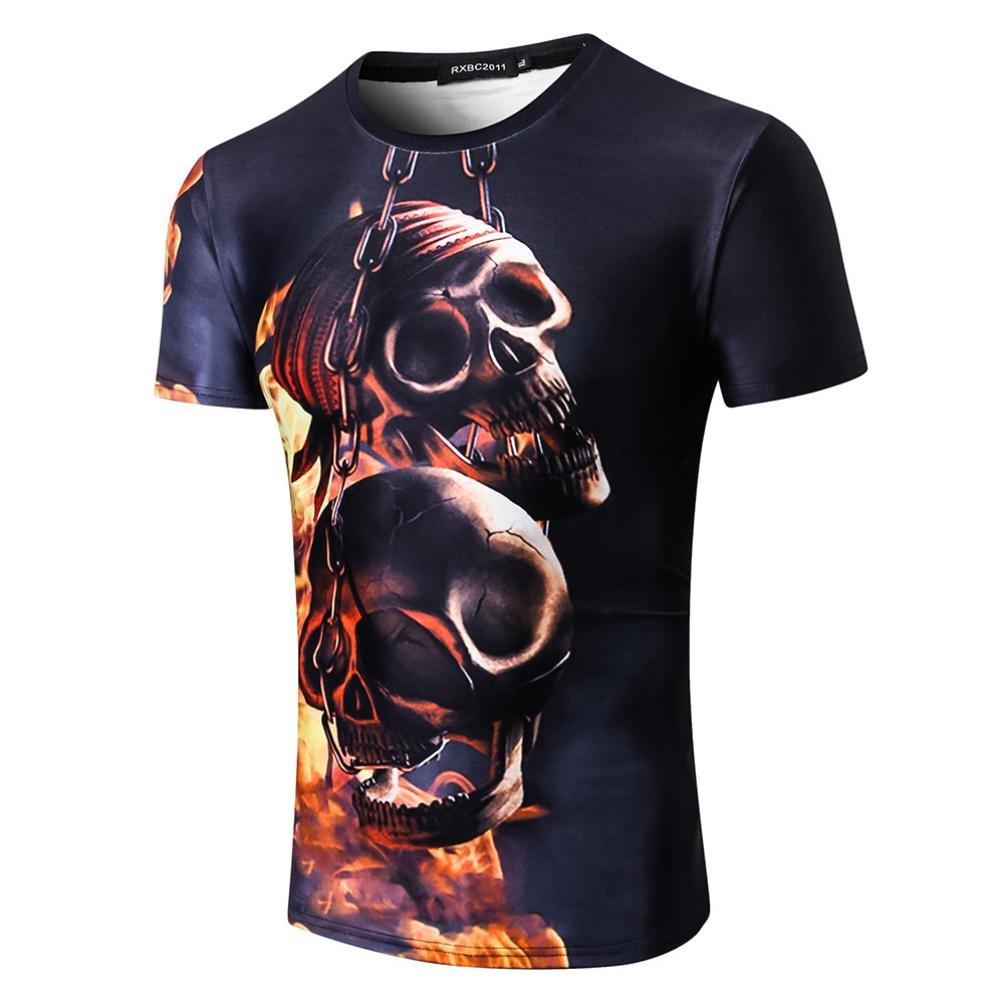 Longra T-Shirt Damen Herren Shirt Feuer Schauml;del Print-Shirts 3D Druck Tees Shirt Kurzarm T-Shirt Bluse Tops Unisex Rundhals Coole T Shirts Mode Hip Hop Bluse Hemd Streetwear  M|Multicolor 04