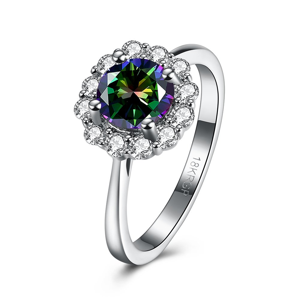 Romantic Fate Diamond Accented Creative Color Zircon Flower 18K Silver Plated Women Nice Popular Ring 7#