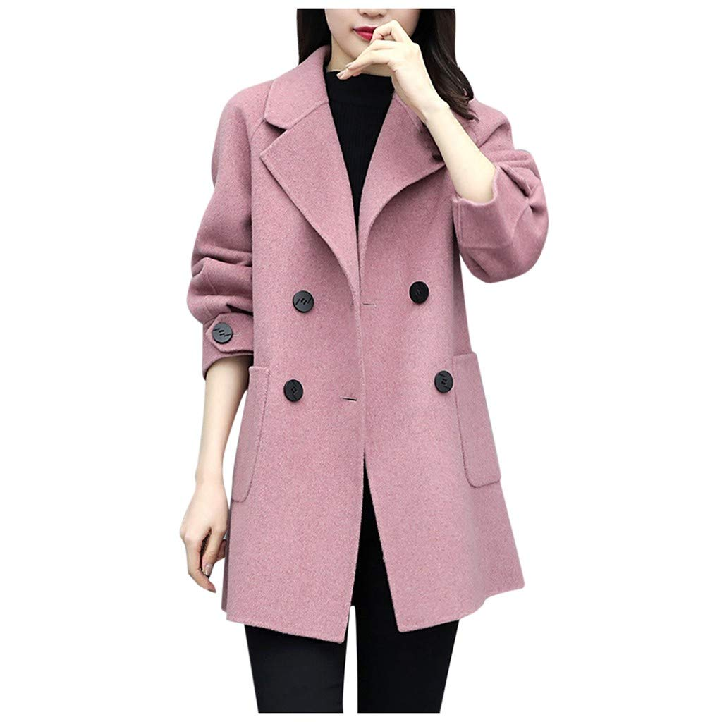 ✪COOLGIRLS✪~Clothing Women Work Solid Vintage Winter Office Long Sleeve Button Woolen Jacket Coat Pink by ✪COOLGIRLS✪~Clothing