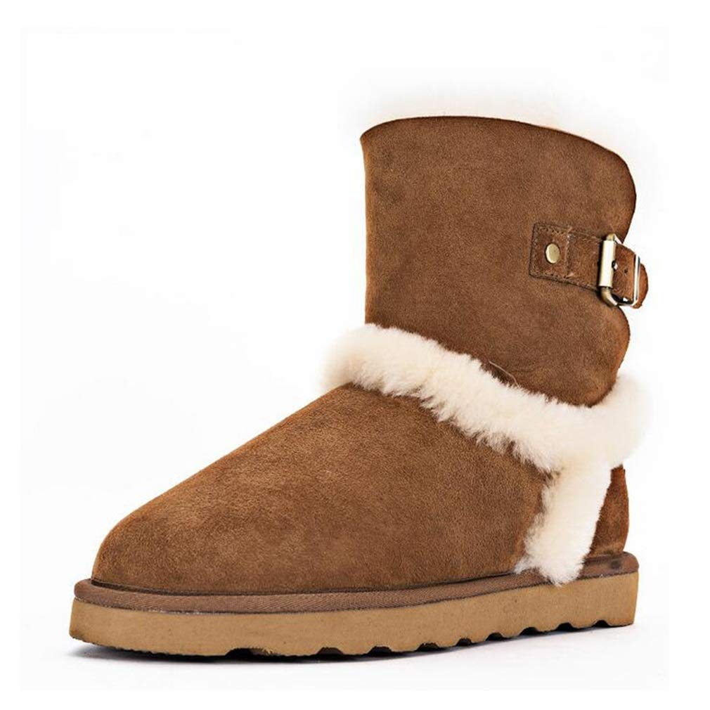 Hy Damenschuhe Winter Plus Kaschmir Warm Windproof Schneestiefel, Slip-Ons Flach Stiefelies, Outdoor-Training Snowsports Ski-Schuhe Winterstiefel (Farbe : Maroon, Größe : 40)