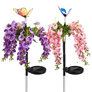 Solar Garden Decorative Flower Lights Outdoor, Multi Color Changing Christmas Party Light with Butterfly LED Garden Lights Waterproof for Yard Patio (Multi-Colored AB, 2)