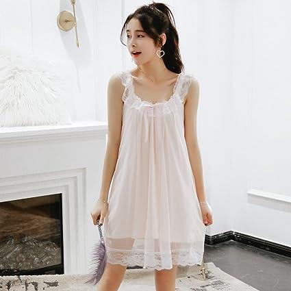 Vestido De Verano Femenino Verano Ice Silk Palace Pijamas Sweet Sexy Lace Strap Modal Home Service