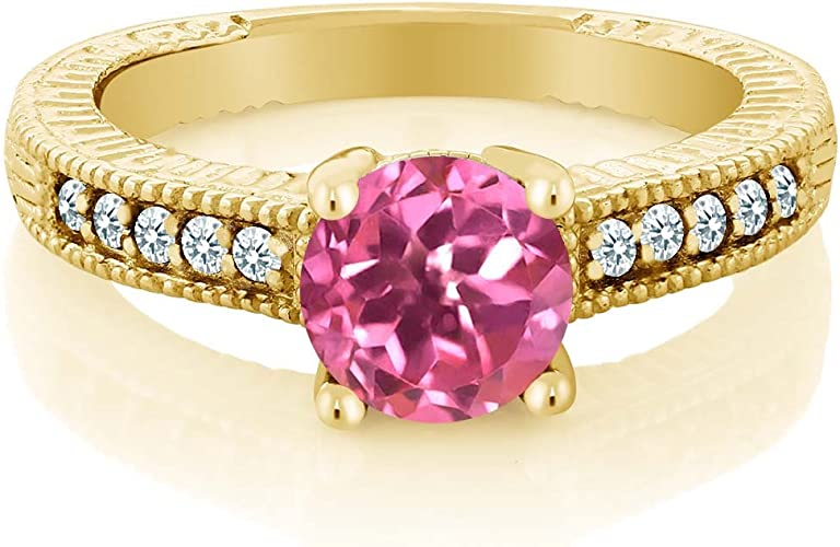Gem Stone King 1.37 Ct Round Pink Created Sapphire 18K Yellow Gold Plated Silver Key Pendant