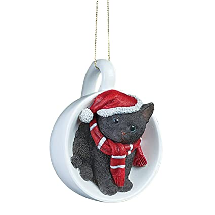 holiday santa cat in teacup christmas ornaments black - Black Cat Christmas Ornament