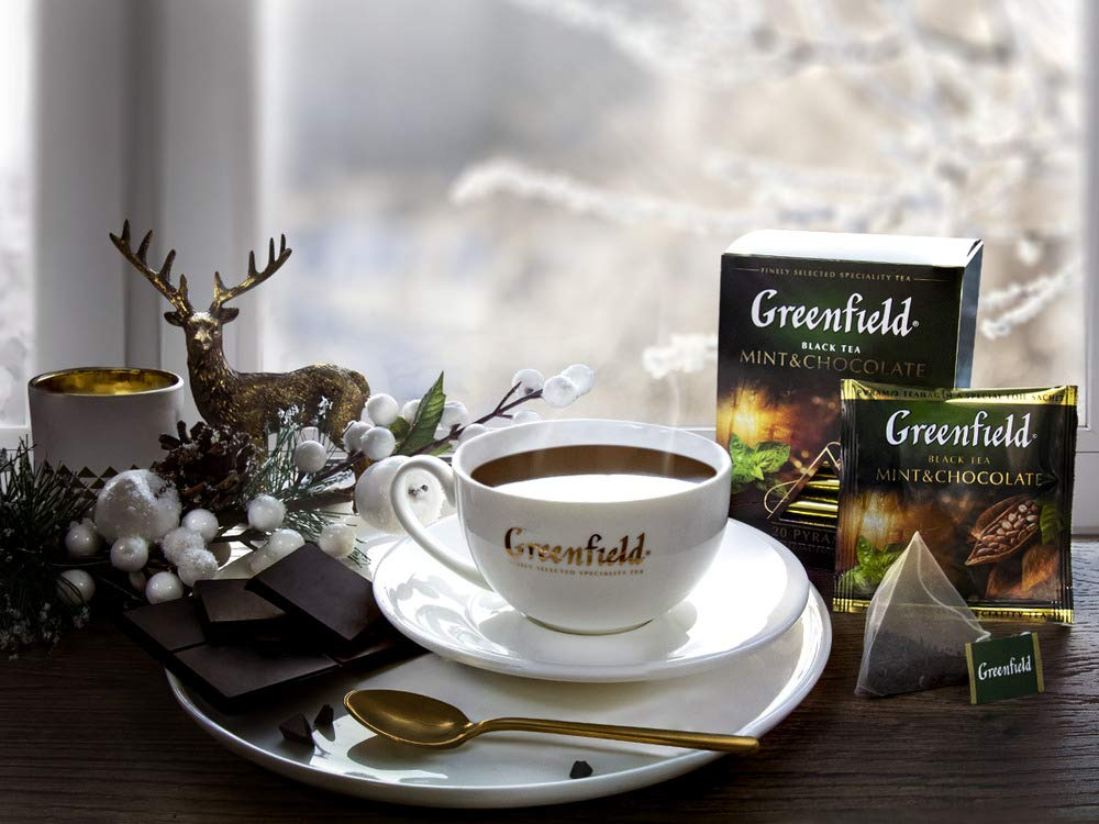Greenfield Mint & Chocolate Pyramid Collection 20 Pyramids In Special Foil Sachets Black Tea Finely Selected Speciality Tea
