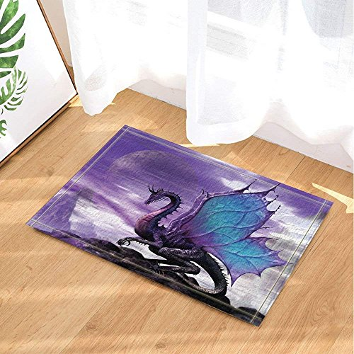 Medieval Fantasy Theme Purple Dragon Bath Rugs Non-Slip Doormat Floor Entryways Indoor Front Door Mat Kids Bath Mat 15.7x23.6in Bathroom Accessories (Bath Rugs)]()
