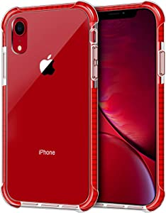 "iPhone XR Case, LOEV Crystal Clear Shockproof Slim Fit Hybrid Protective Case with 4 Corners Drop Protection Cushion Anti-Scratch Hard PC Back & Soft TPU Bumper Cover for Apple iPhone XR 6.1"", Red"