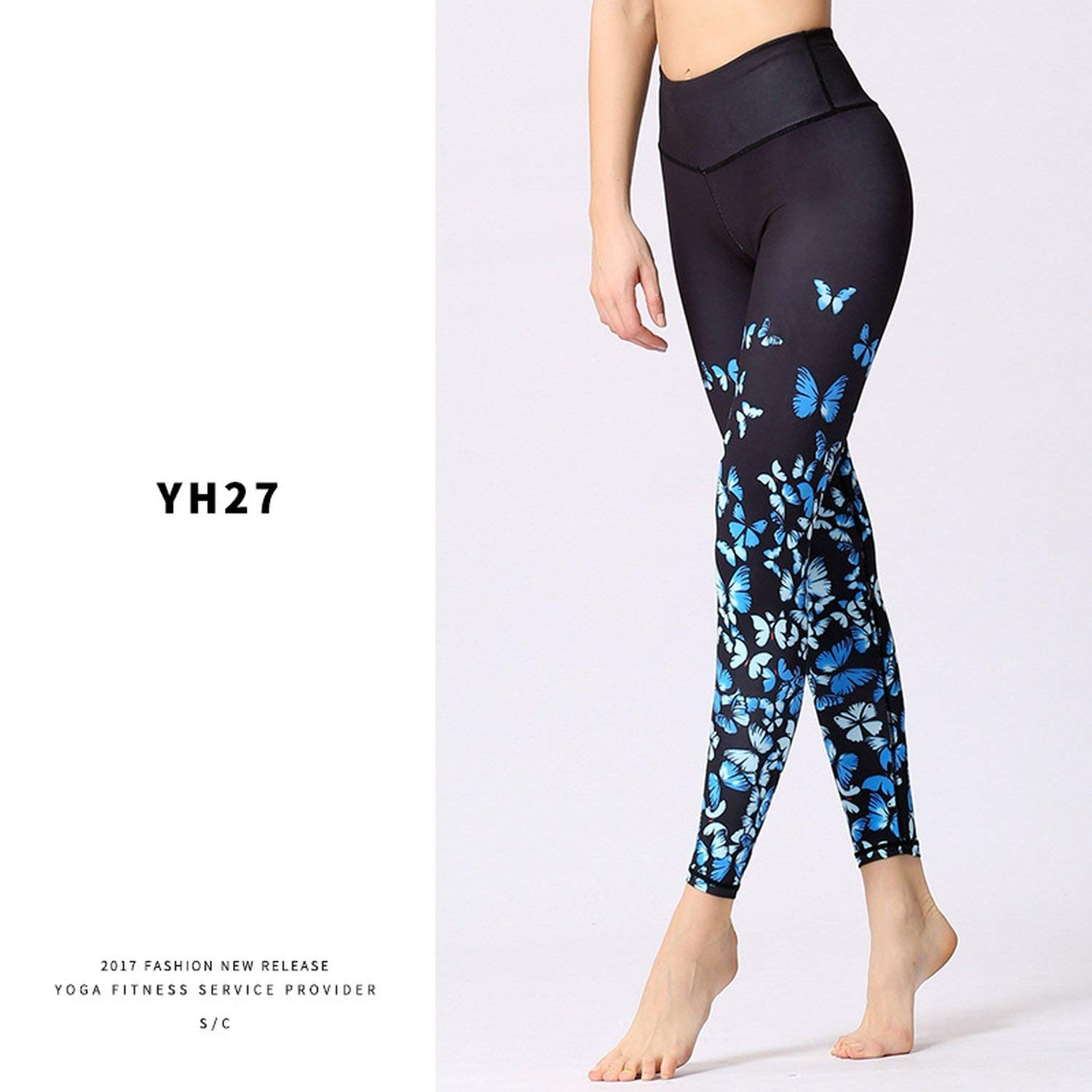 Amazon.com: Butterfly Printed Fitness Yoga Leggings High ...