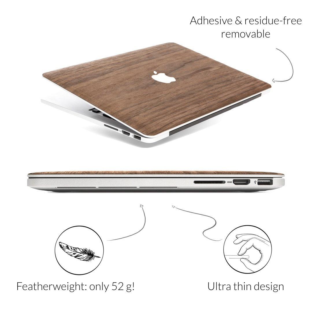 Woodcessories - Skin Compatible with MacBook 15 Pro Retina of Real Wood, EcoSkin (Walnut) by Woodcessories (Image #3)