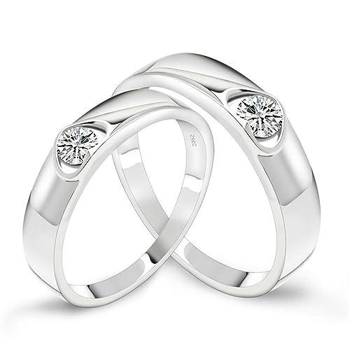 Beydodo oro blanco plate pareja anillos de boda para su forma de corazón blanco AAA circonita, tamaño 7,5: Beydodo: Amazon.es: Joyería