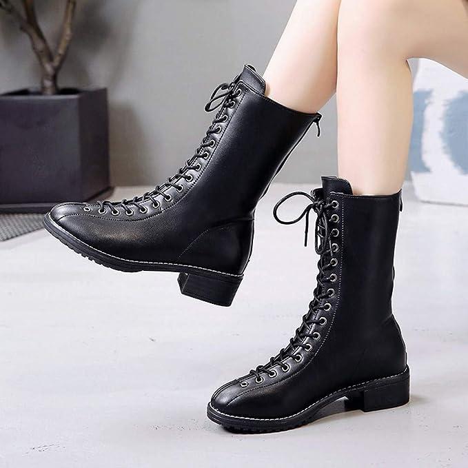 ❤ Botas con Cordones para Mujeres, Remaches de Mujer Zapatos Botas Camperas de Cuero con Punta Redonda con Cordones Boots Absolute: Amazon.es: Ropa y ...