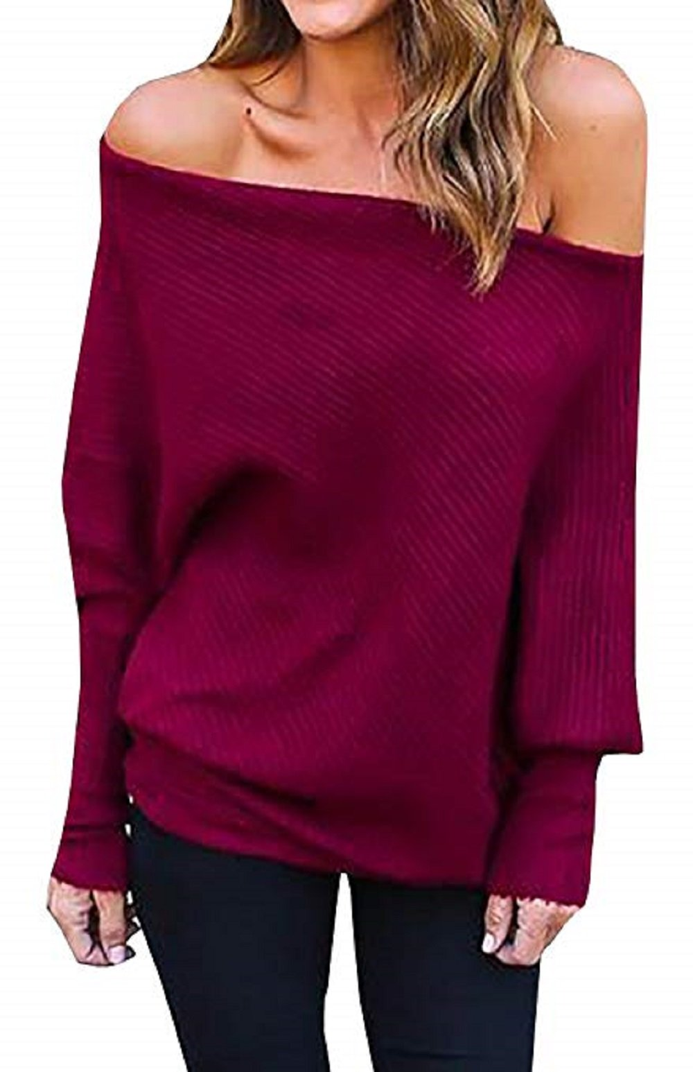FISACE Womens Knitted One Shoulder Batwing Sleeve Loose Pullover Sweater Jumper