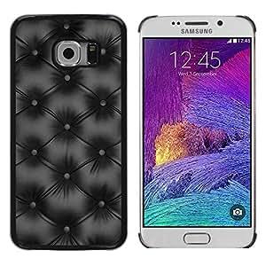 FECELL CITY // Duro Aluminio Pegatina PC Caso decorativo Funda Carcasa de Protección para Samsung Galaxy S6 EDGE SM-G925 // Minimalist Black Diamond Leather