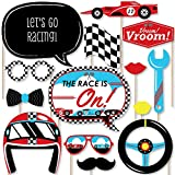 Big Dot of Happiness Let's Go Racing - Racecar - Baby Shower or Race Car Birthday Party Photo Booth Props Kit - 20 Count