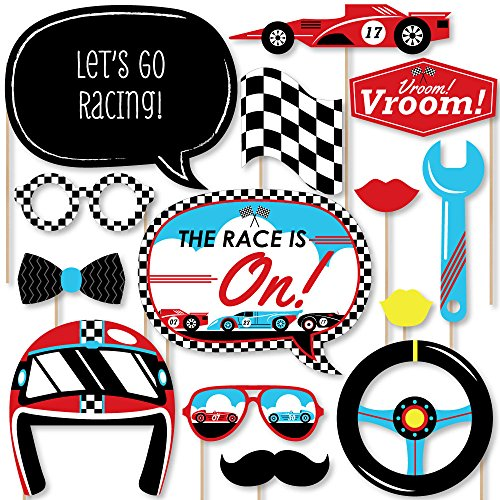 (Big Dot of Happiness Let's Go Racing - Racecar - Baby Shower or Race Car Birthday Party Photo Booth Props Kit - 20)