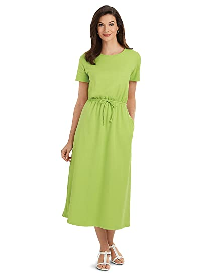 b7b1b6630 Carol Wright Gifts Ribbed-Knit Cotton Dress, Color Lime, Size Extra Large (