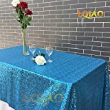 LQIAO Shiny 120x200cm Sequin Tablecloth Turquoise Rectangle Shimmer Sequin Fabric Luxurious Wedding Birthday Party Decoration, Accepted Customize