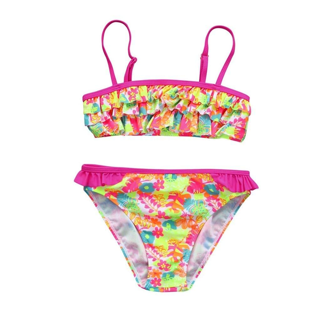 Floral Swimwear Pink Swimsuit Set Baby Kids Girls Bikini Bathing Clothing Outfit
