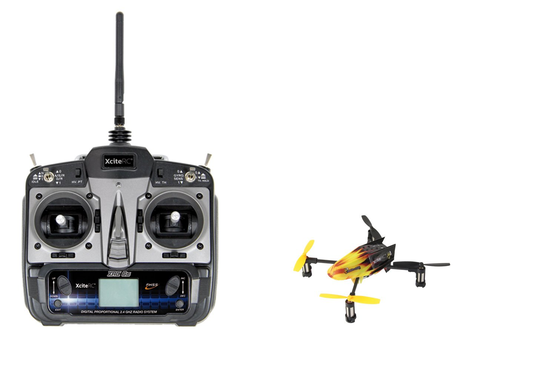 XciteRC 15000110 Ferngesteuerter Quadrocopter Drohne HotBee 3D 2.4 GHz RTF 6S Profi 6 Kanal Sender, 120 mm, gelb, schwarz