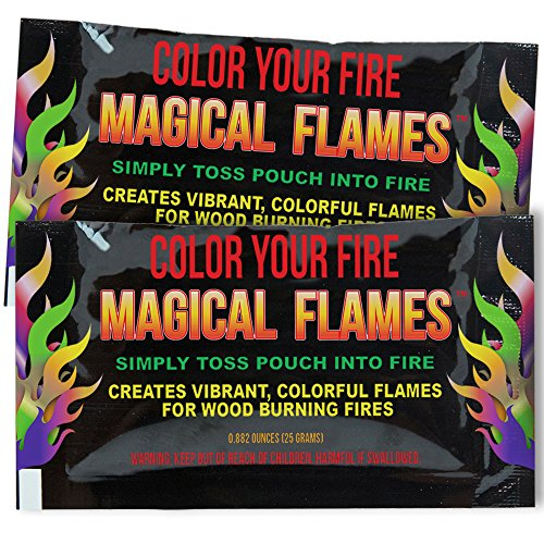 Magical Flames 12-pack: TWICE THE COLOR, half the price! Creates Vibrant, Rainbow Colored Flames (Blue Flame Stuff)